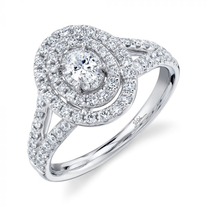 4K White Gold .75CT 1 Oval Diamond Engagement Ring