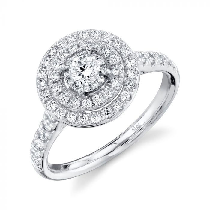 14K Round Diamond Ring Engagement  75CT White Gold