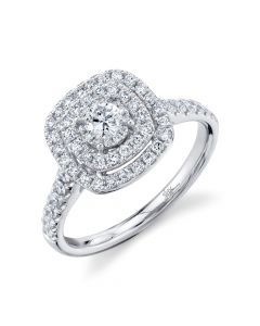 14K Round Ring Diamond Engagement Ring .75CT White Gold