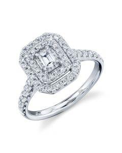 14K Emerald Diamond Engagement Ring 75CT White Gold