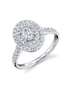 14K .75CT Oval Diamond Engagement Ring White Gold