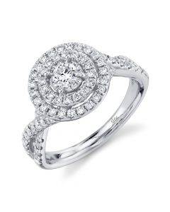 14K Round .75CT Diamond Engagement Ring White Gold