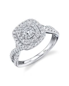 14K White Gold Round .75CT Diamond Engagement Ring