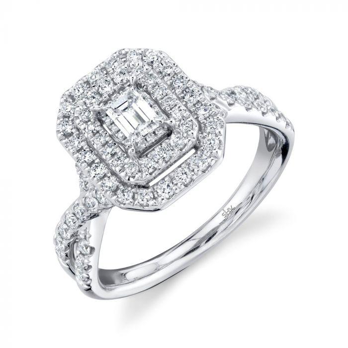 14K .75CT White Gold Emerald Diamond Engagement Ring