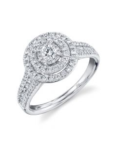 14K 0.75CT White Gold Diamond Round Engagement Ring