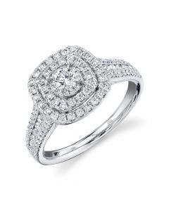 14K 0.75CT White Gold Cushion Diamond Engagement Ring