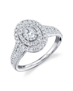 14K 0.75CT White Gold Oval Diamond Engagement Ring