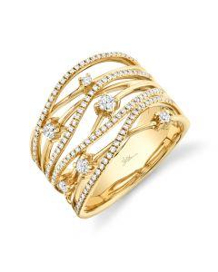 14K 0.49CT Yellow Gold Diamond Bridge Ring