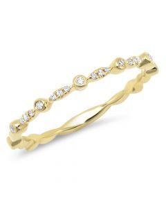 14K Yellow Gold 0.06 Ct Diamond Lady's Band