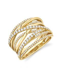 14K 0.62CT Yellow Gold Diamond Bridge Ring