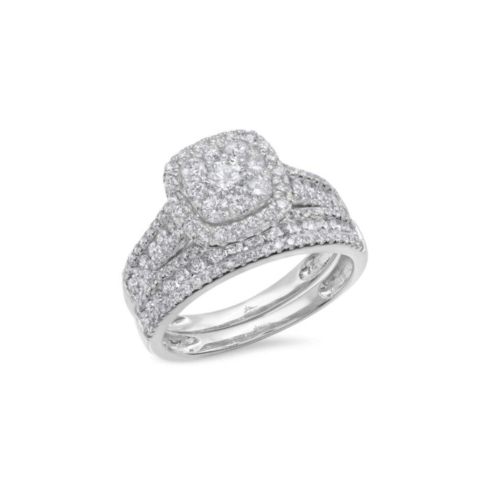 14K White Gold 1.45 ct Diamond Wedding Set