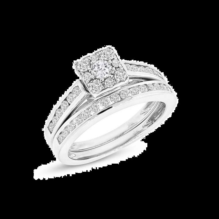 14K 0.93ct White Gold Diamond Ring Wedding Set Cluster