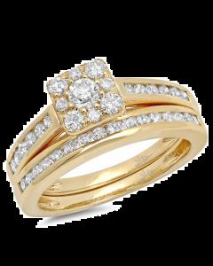 14K 0.93ct Yellow Gold Diamond Ring Wedding Set Cluster