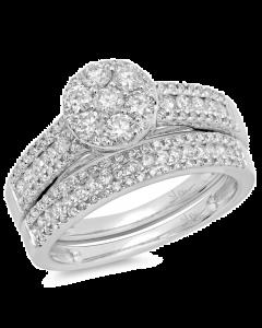 14K 1.13ct White Gold Diamond Ring Wedding Set Cluster