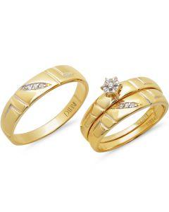 Yellow Gold 14K 0.10 CT. Two Diamond Wedding Set