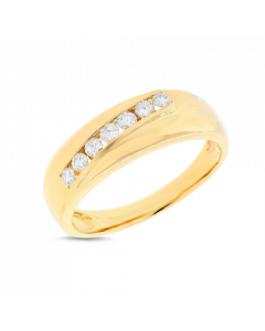 14K Yellow Gold Diamond Men'S Band Ring