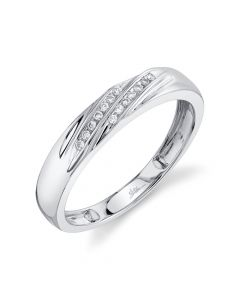 14K 0.08CT White Gold Diamond Men's Band