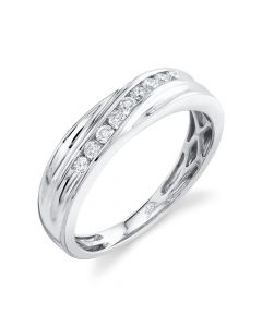 14K 0.30CT White Gold Diamond Men's Band