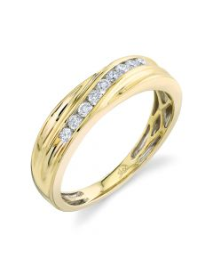 14K 0.30CT Yellow Gold Diamond Men's Band
