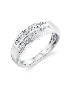 14K 0.22CT White Gold Diamond Men's Band