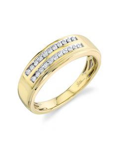 14K 0.22CT Yellow Gold Diamond Men's Band