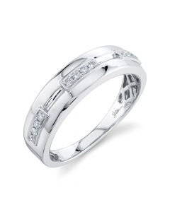14K 0.14CT White Gold Diamond Men's Band