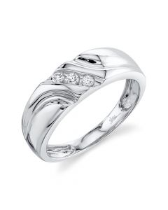 14K 0.13CT White Gold Diamond Men's Band