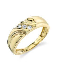 14K 0.13CT Yellow Gold Diamond Men's Band