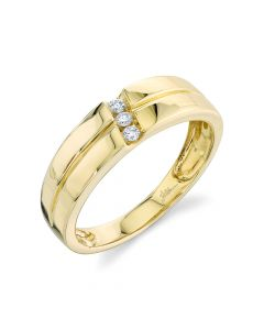 14K 0.09CT Yellow Gold Diamond Men's Band