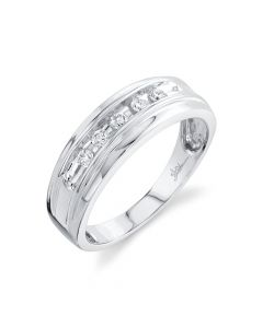 14K 0.25CT White Gold Diamond Men's Band