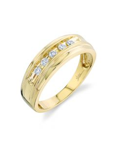14K 0.25CT Yellow Gold Diamond Men's Band