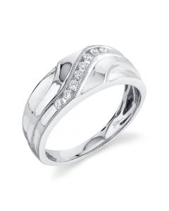 14K 0.23CT White Gold Diamond Men's Band