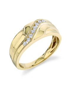14K 0.23CT Yellow Gold Diamond Men's Band