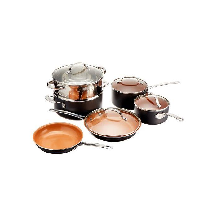 Gotham Steel 10-Piece Kitchen Nonstick Frying Pan and Cookware Set - Brown/Transparent