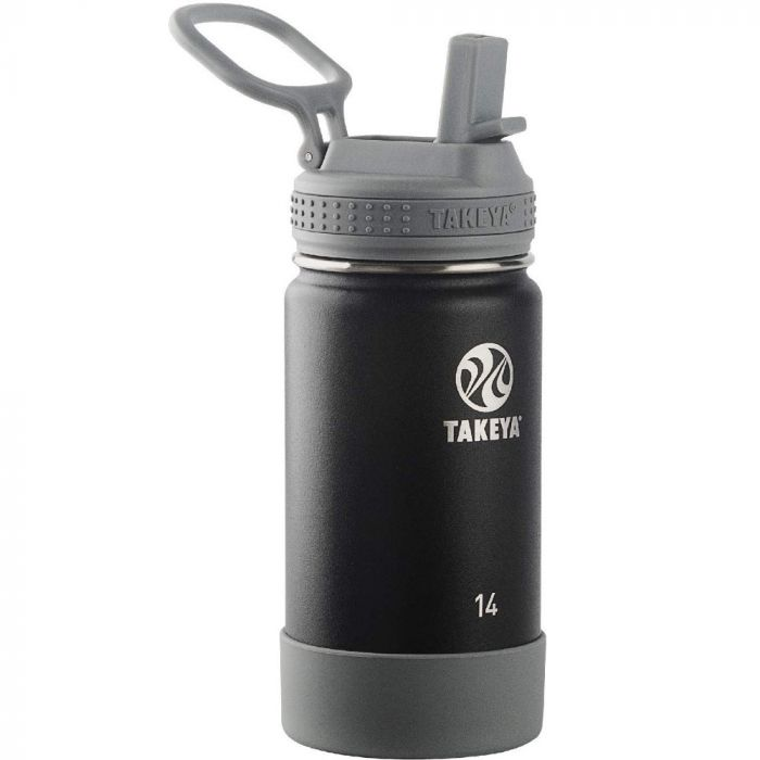 Takeya Actives 14 oz Kids Insulated Stainless Steel Water Bottle - Black