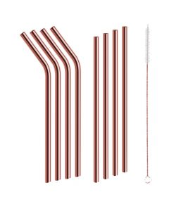 As Seen on TV Red Copper 9-Piece Stainless Steel Reusable Drinking Straw