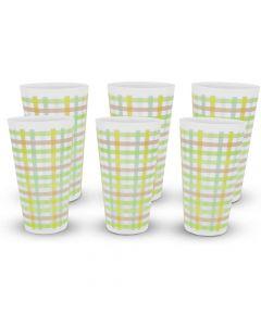 Expace 32 oz Plastic Tumblers Stadium Cups Pastel Plaid 6 Pack