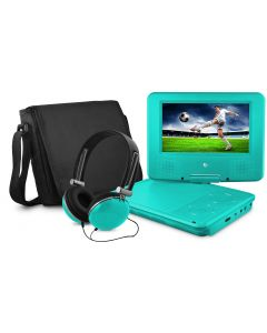 Ematic Portable DVD Player - 7-Inch High Resolution LCD Display - ON-The-GO Movies - Music & Photos - 180 Degree Swivel - Premium Headphones - Travel Case - Teal  - EPD707TL