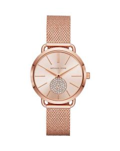 Michael Kors Women's Portia Rose Gold Tone Round Dial Mesh Bracelet Watch - Rose Gold