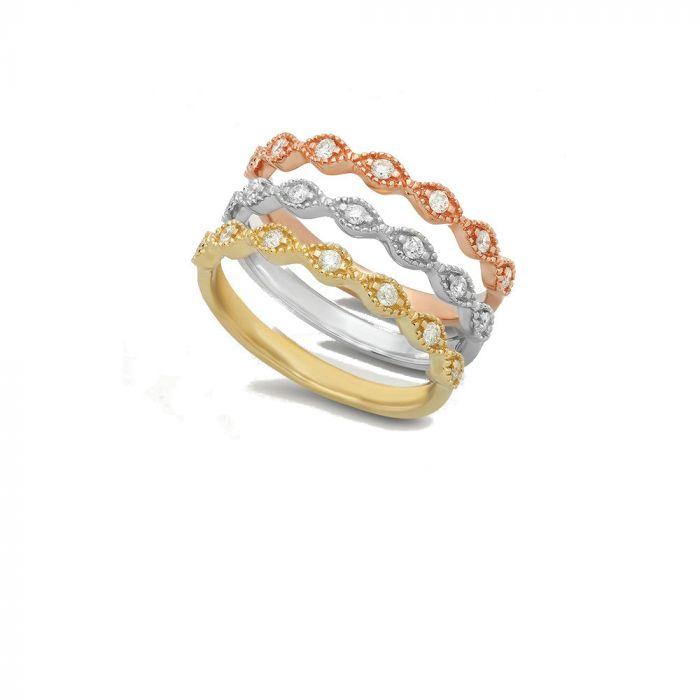 14K Rose/White/Yellow Gold 0.31tw 3 Band Rings
