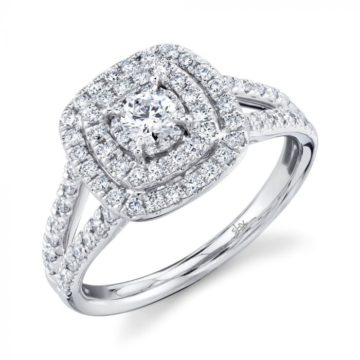 14K Round Diamond Engagement Ring .75CT  White Gold