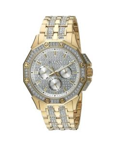 Bulova Men's Crystal Accented Silver Dial Stainless Steel Bracelet Watch - Gold