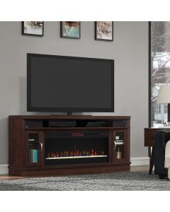 """Deerfield 70"""" TV Stand with Fireplace and Soundbars"""