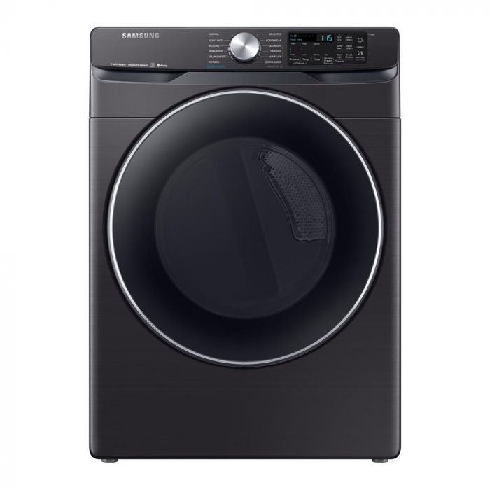 Samsung DVE45R6300V 7.5 Cu. Ft. 12-Cycle Electric Dryer with Steam - Fingerprint Resistant Black Stainless Steel