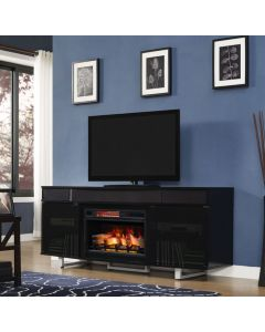 """Enterprise 72"""" TV Stand with Fireplace and Soundbars"""