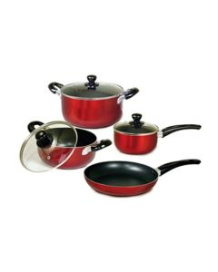 Better Chef F889R 7-Piece Aluminum Non-Stick Cookware Set - Red