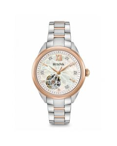 Bulova Women's Automatic Diamond Accent Semi-Skeleton White Mother Of Pearl Dial Stainless Steel Bracelet Watch - Two-Tone