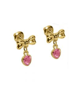 14K Yellow Gold Bow and Heart Earrings