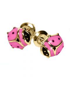 14K Yellow Gold Pink Ladybug Earrings