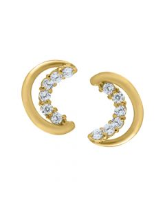 14K Yellow Gold Crescent Moon Earrings